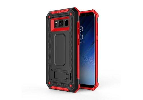 Samsung S8 hybrid kickstand telefoonhoesje - Zwart rood