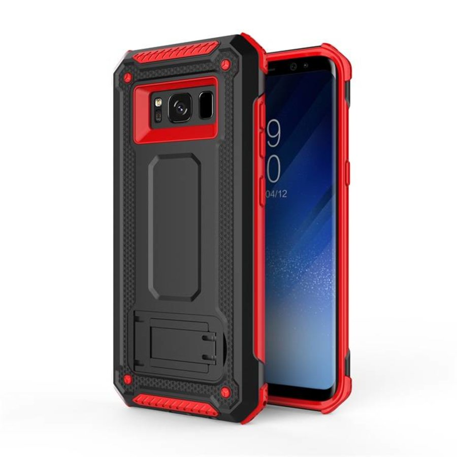 Samsung S8 hybrid kickstand telefoonhoesje - Zwart rood-1