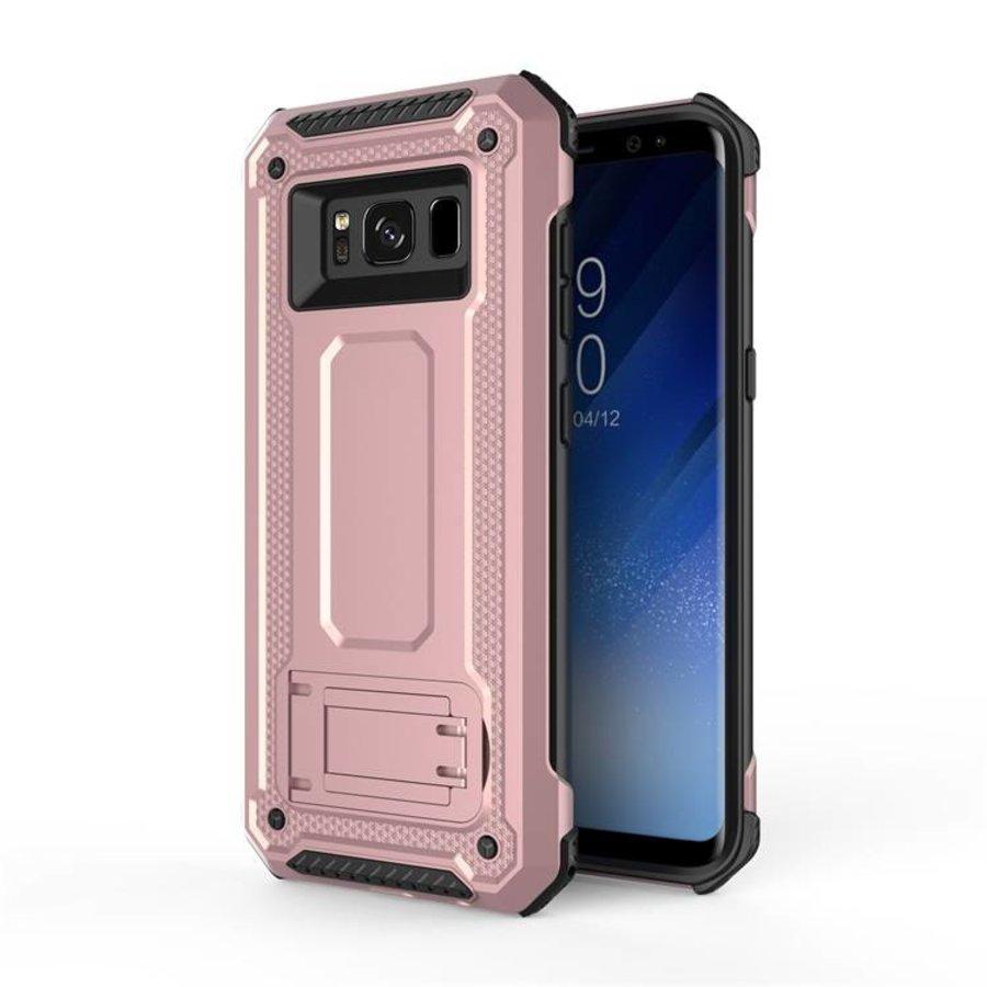 Samsung S8 hybrid kickstand telefoonhoesje - Roze goud-1