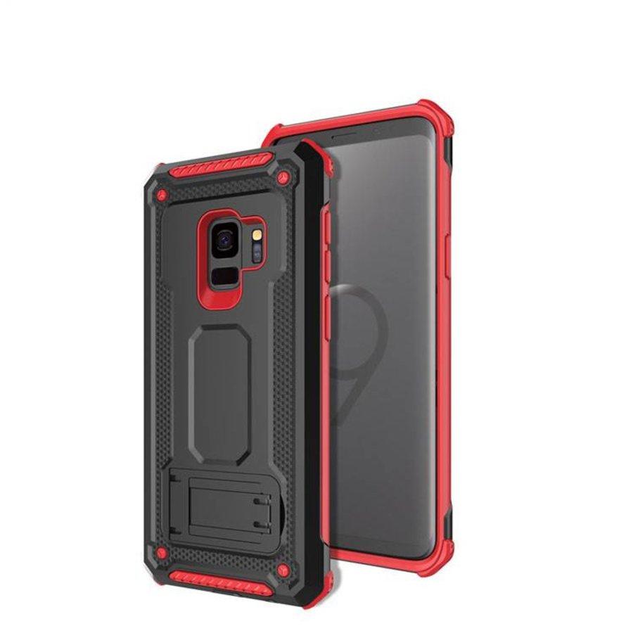 Samsung S9 hybrid kickstand telefoonhoesje - Zwart rood-1