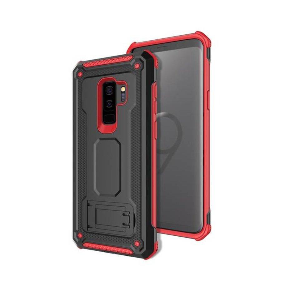 Samsung S9 Plus hybrid kickstand telefoonhoesje - Zwart rood-1
