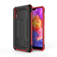 Huawei P20 hybrid kickstand telefoonhoesje - Zwart rood
