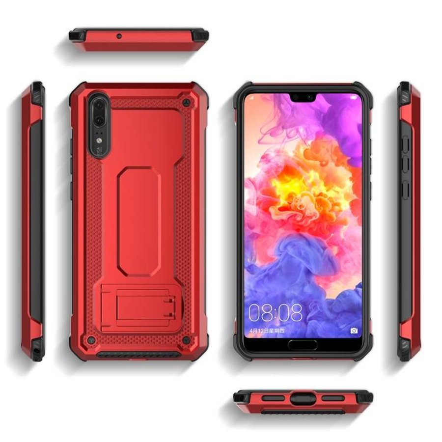 Huawei P20 hybrid kickstand telefoonhoesje - Rood-2