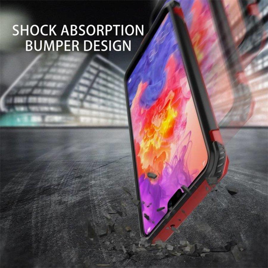 Huawei P20 hybrid kickstand telefoonhoesje - Rood-5