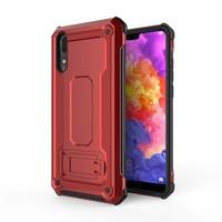 thumb-Huawei P20 hybrid kickstand telefoonhoesje - Rood-1