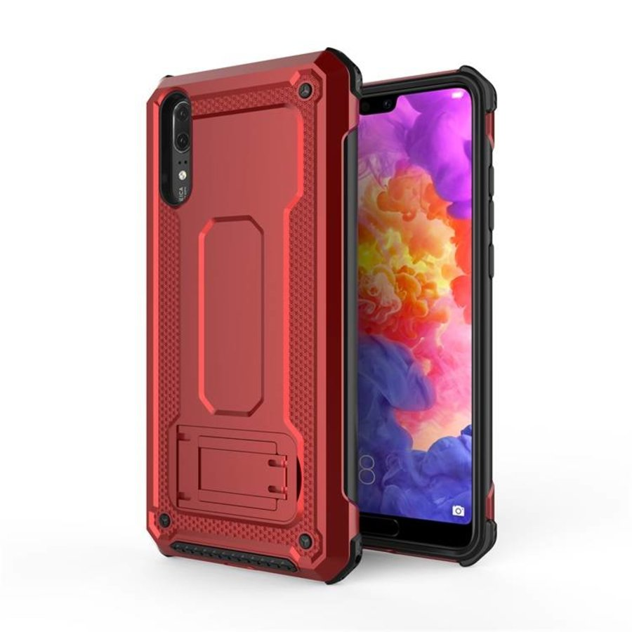 Huawei P20 hybrid kickstand telefoonhoesje - Rood-1