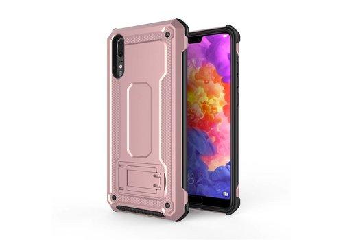 Huawei P20 hybrid kickstand telefoonhoesje - Roze goud