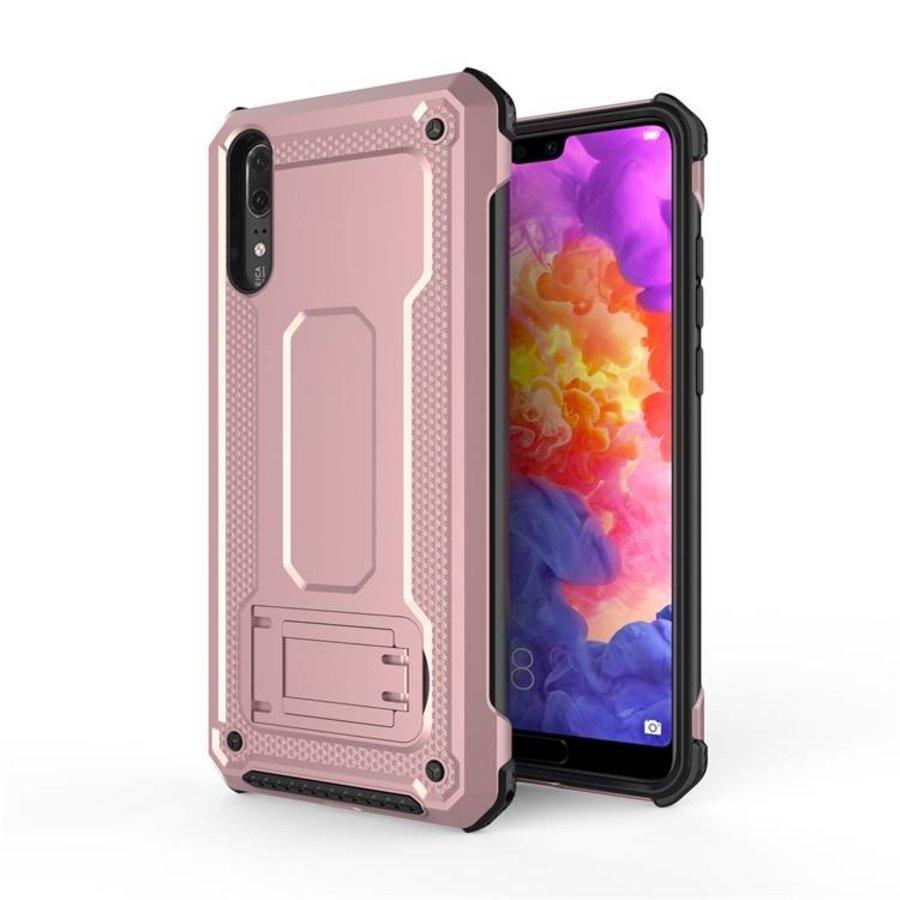 Huawei P20 hybrid kickstand telefoonhoesje - Roze goud-1