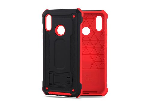 Huawei P20 Lite hybrid kickstand telefoonhoesje - Zwart rood