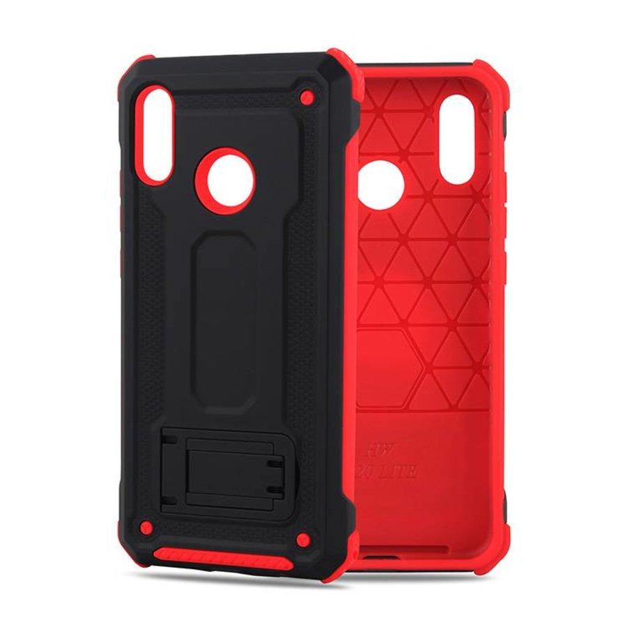 Huawei P20 Lite hybrid kickstand telefoonhoesje - Zwart rood-1