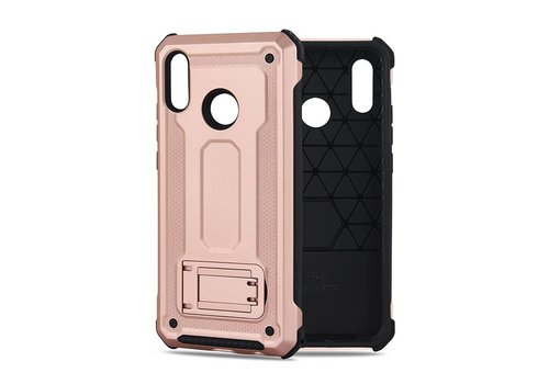 Huawei P20 Lite hybrid kickstand telefoonhoesje - Roze goud