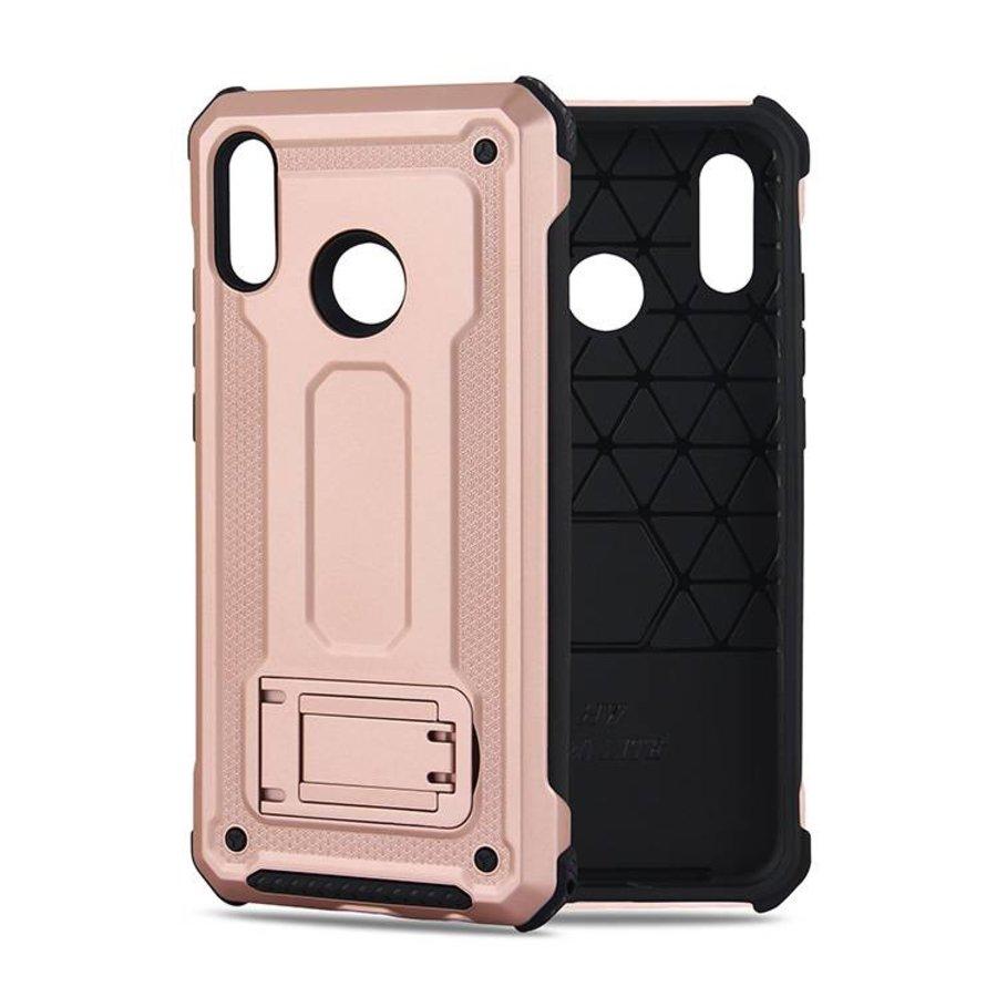 Huawei P20 Lite hybrid kickstand telefoonhoesje - Roze goud-1