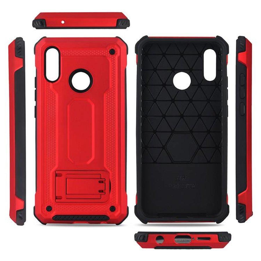 Huawei P20 Lite hybrid kickstand telefoonhoesje - Rood-3