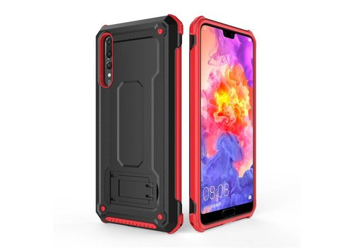 Huawei P20 Pro hybrid kickstand telefoonhoesje - Zwart rood