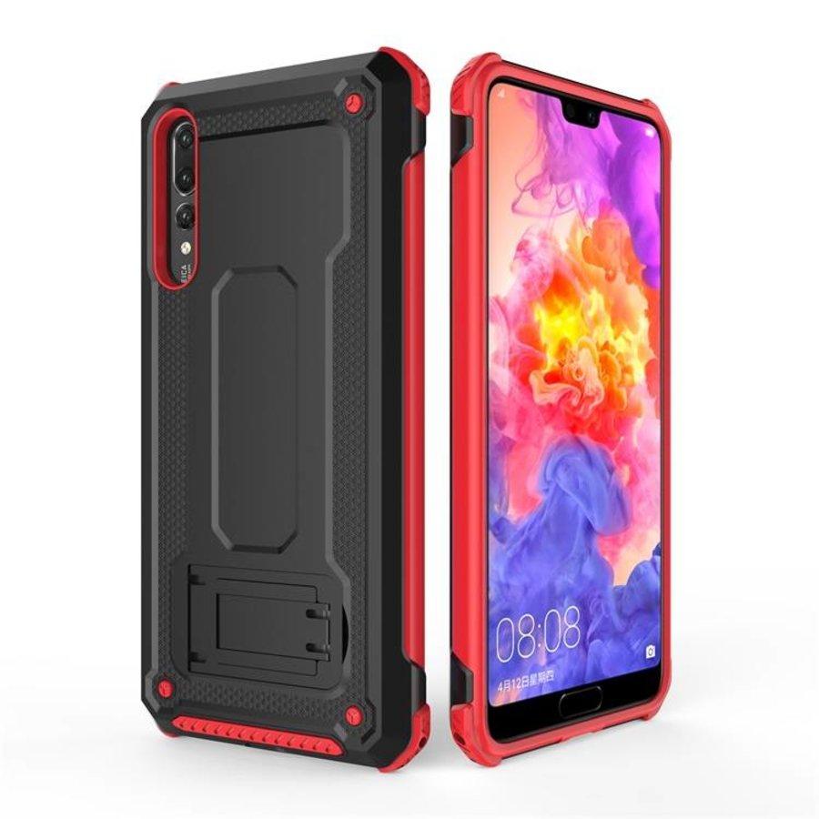 Huawei P20 Pro hybrid kickstand telefoonhoesje - Zwart rood-1