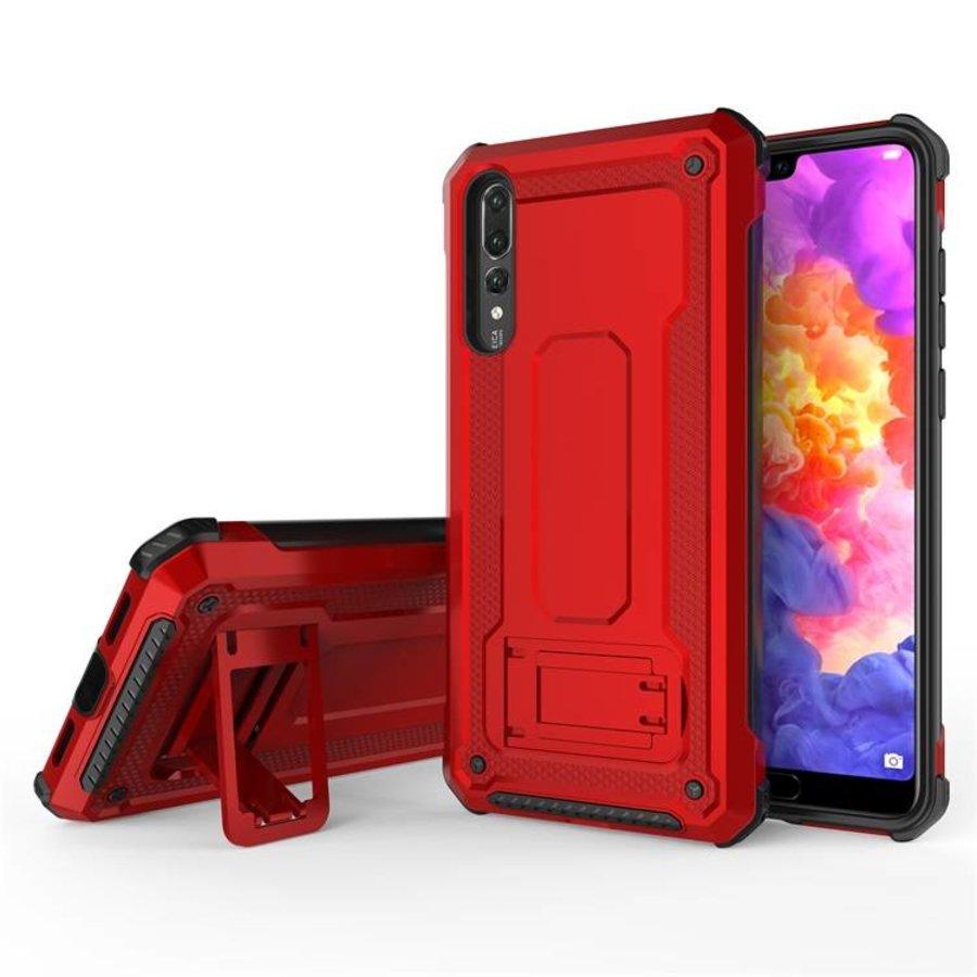 Huawei P20 Pro hybrid kickstand telefoonhoesje - Rood-4