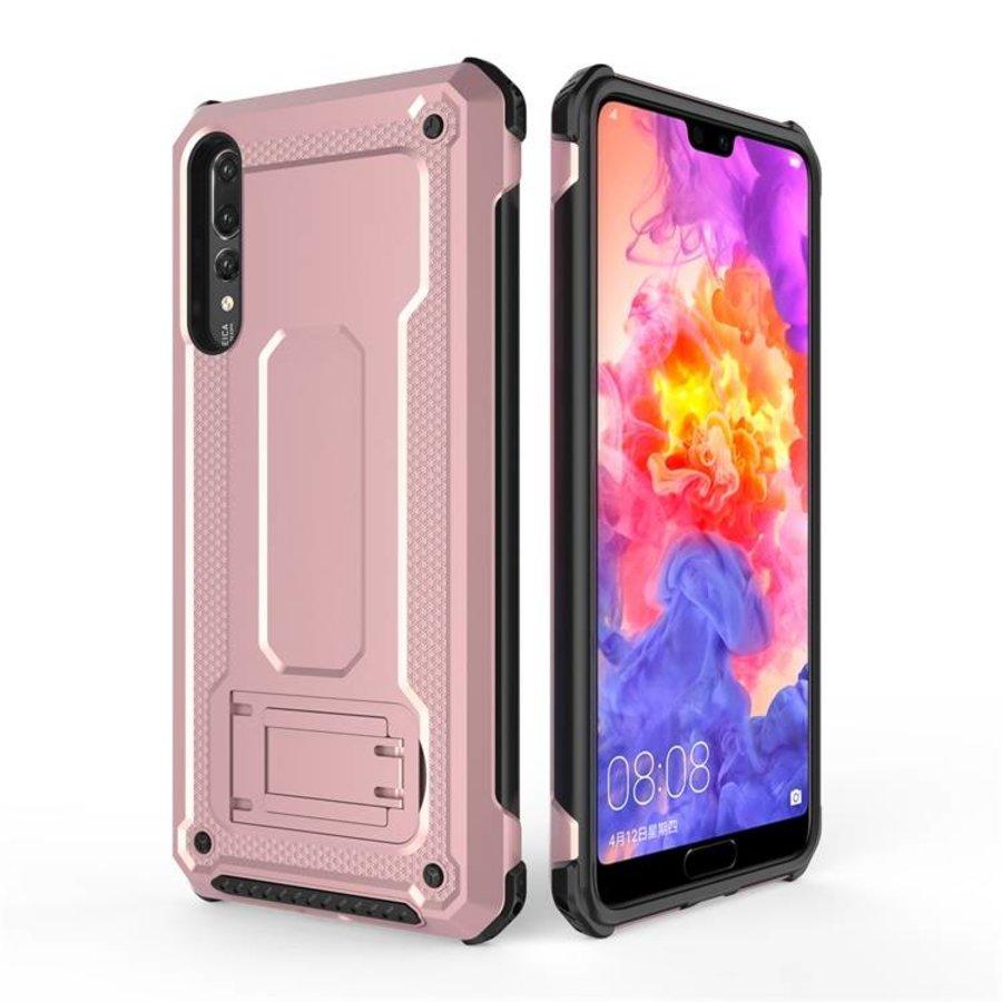 Huawei P20 Pro hybrid kickstand telefoonhoesje - Roze goud-1