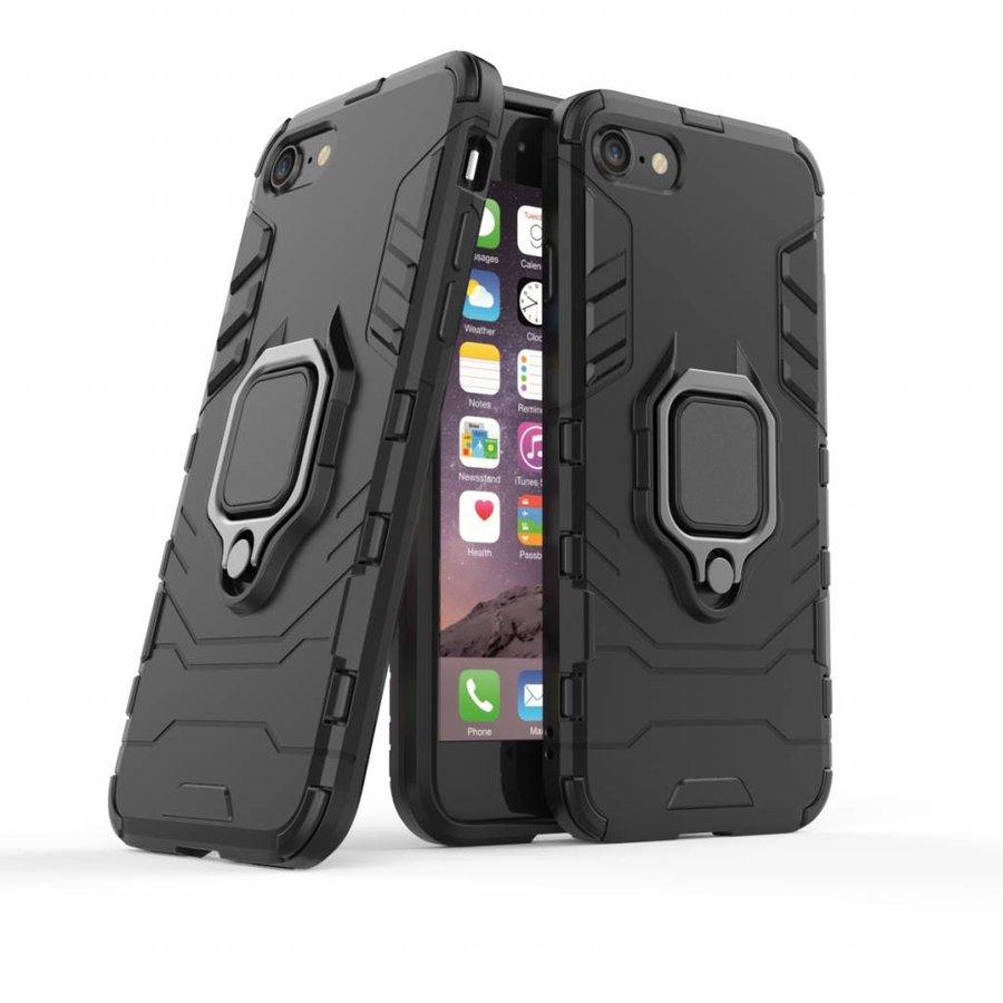 Apple Iphone 7 Ring magnet telefoonhoesje - Zwart-3