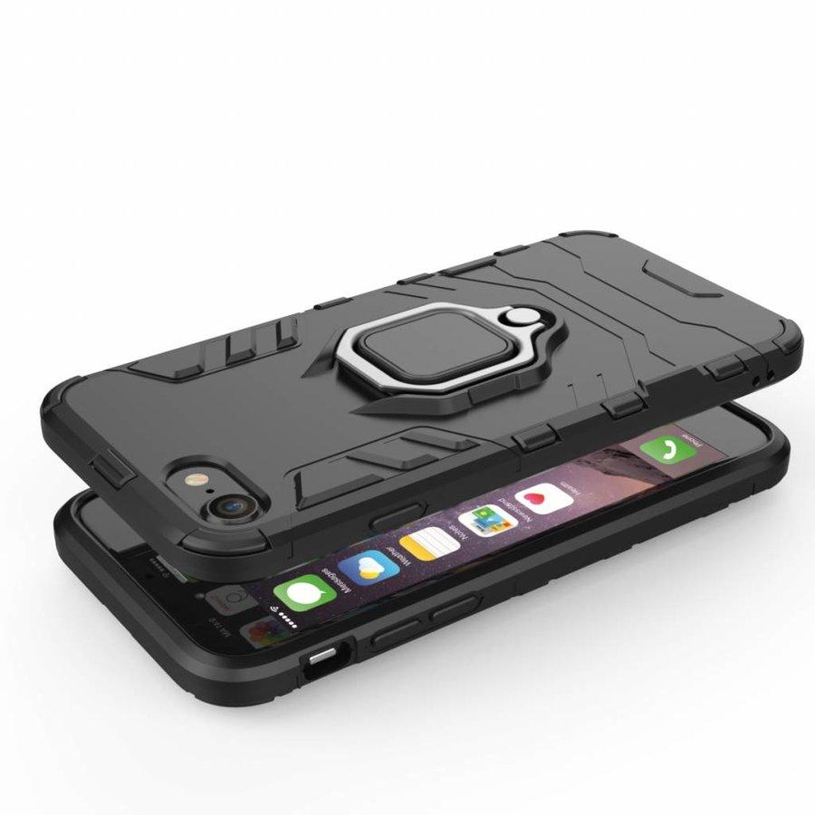 Apple Iphone 7 Ring magnet telefoonhoesje - Zwart-4