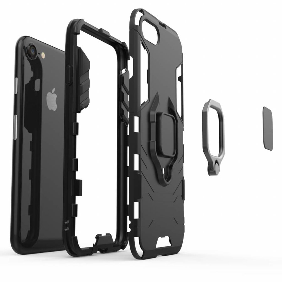 Apple Iphone 7 Ring magnet telefoonhoesje - Zwart-5