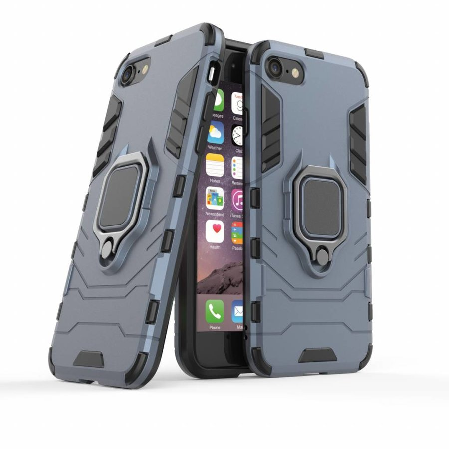 Apple Iphone 7 Plus Ring magnet telefoonhoesje - Blauw-3