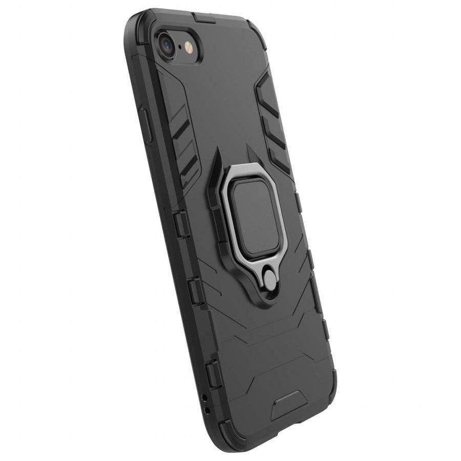 Apple Iphone 8 Ring magnet telefoonhoesje - Zwart-5
