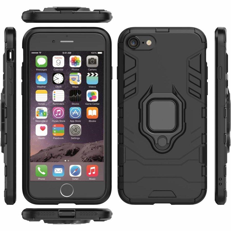 Apple Iphone 8 Ring magnet telefoonhoesje - Zwart-6