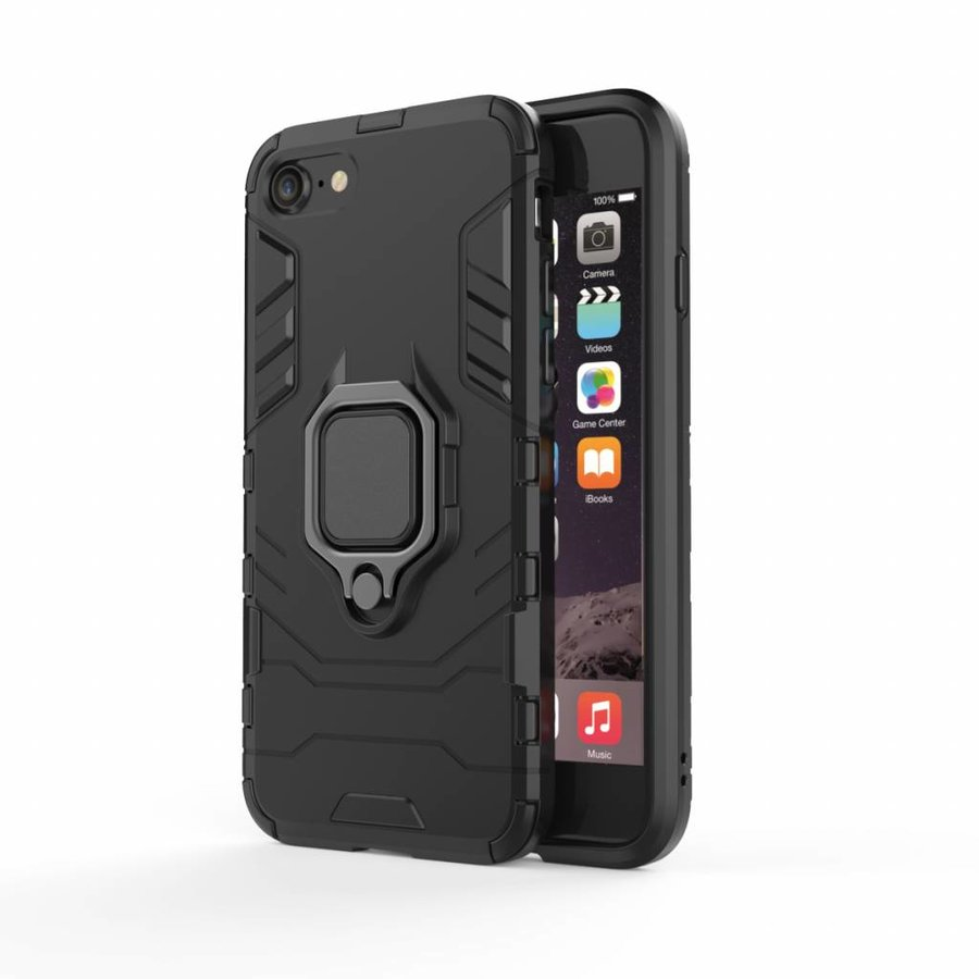 Apple Iphone 8 Ring magnet telefoonhoesje - Zwart-1
