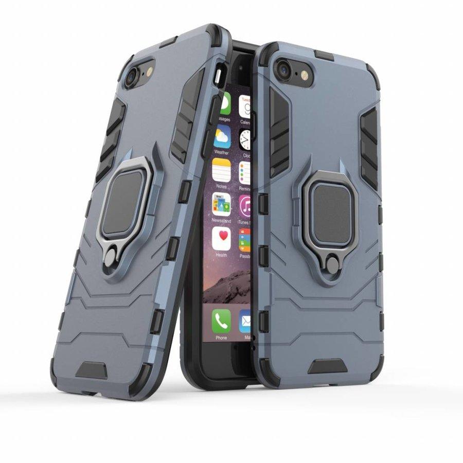 Apple Iphone 8 Ring magnet telefoonhoesje - Blauw-3