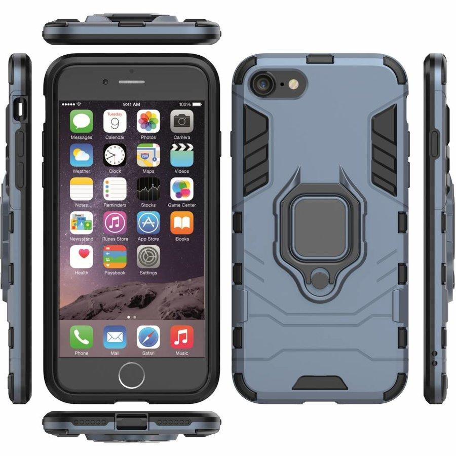 Apple Iphone 8 Ring magnet telefoonhoesje - Blauw-5