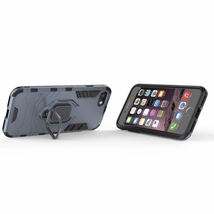 Apple Iphone 8 Ring magnet telefoonhoesje - Blauw-2