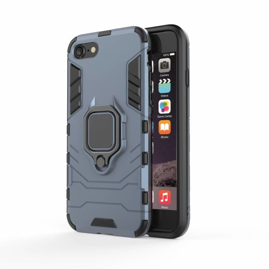 Apple Iphone 8 Ring magnet telefoonhoesje - Blauw-1
