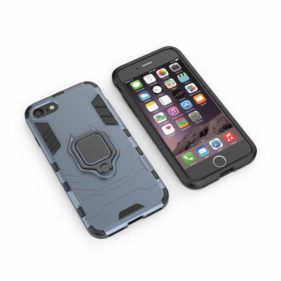 Apple Iphone 8 Plus Ring magnet telefoonhoesje - Blauw-5