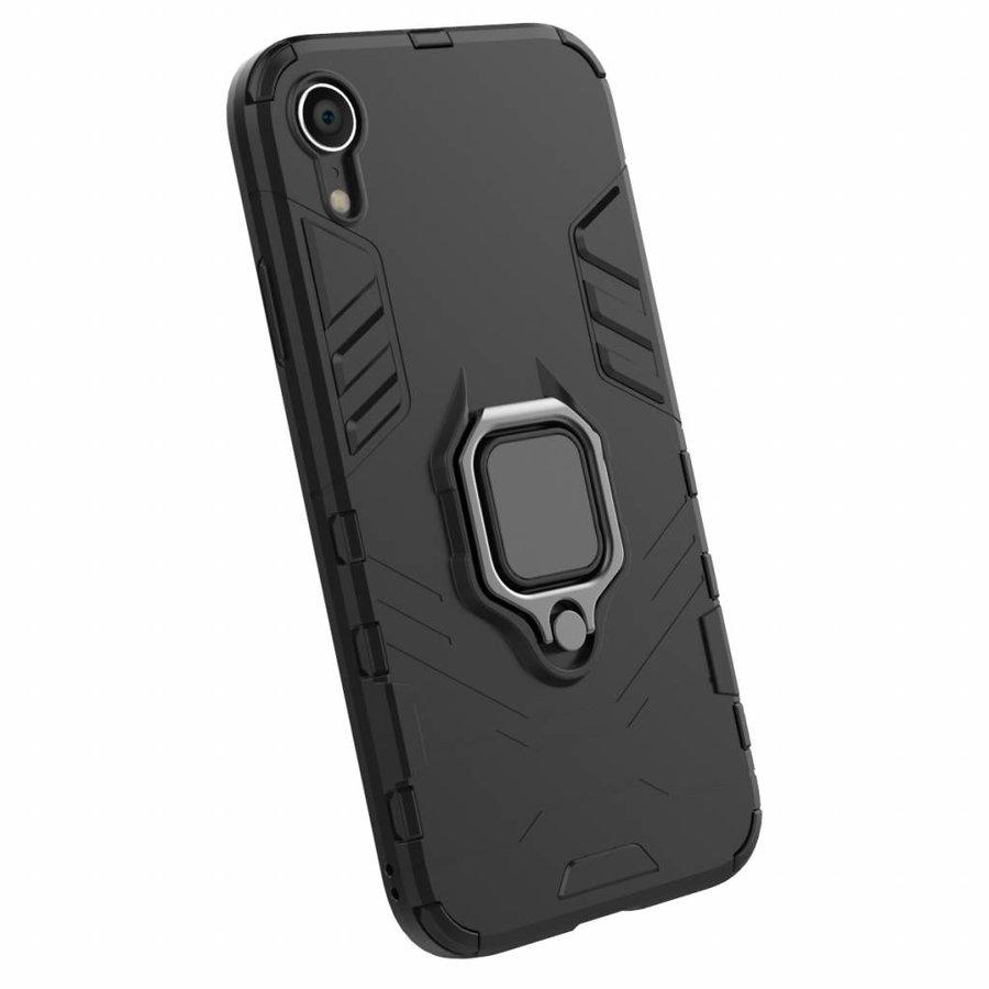 Apple Iphone XR Ring magnet telefoonhoesje - Zwart-4