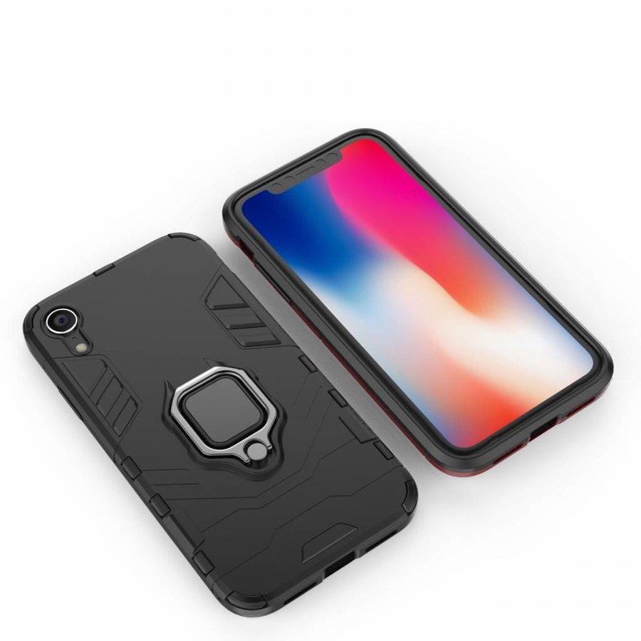 Apple Iphone XR Ring magnet telefoonhoesje - Zwart-5