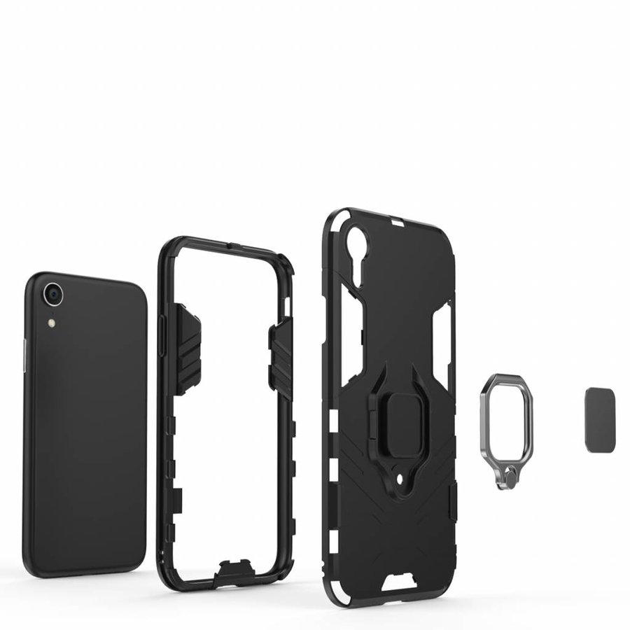 Apple Iphone XR Ring magnet telefoonhoesje - Zwart-6
