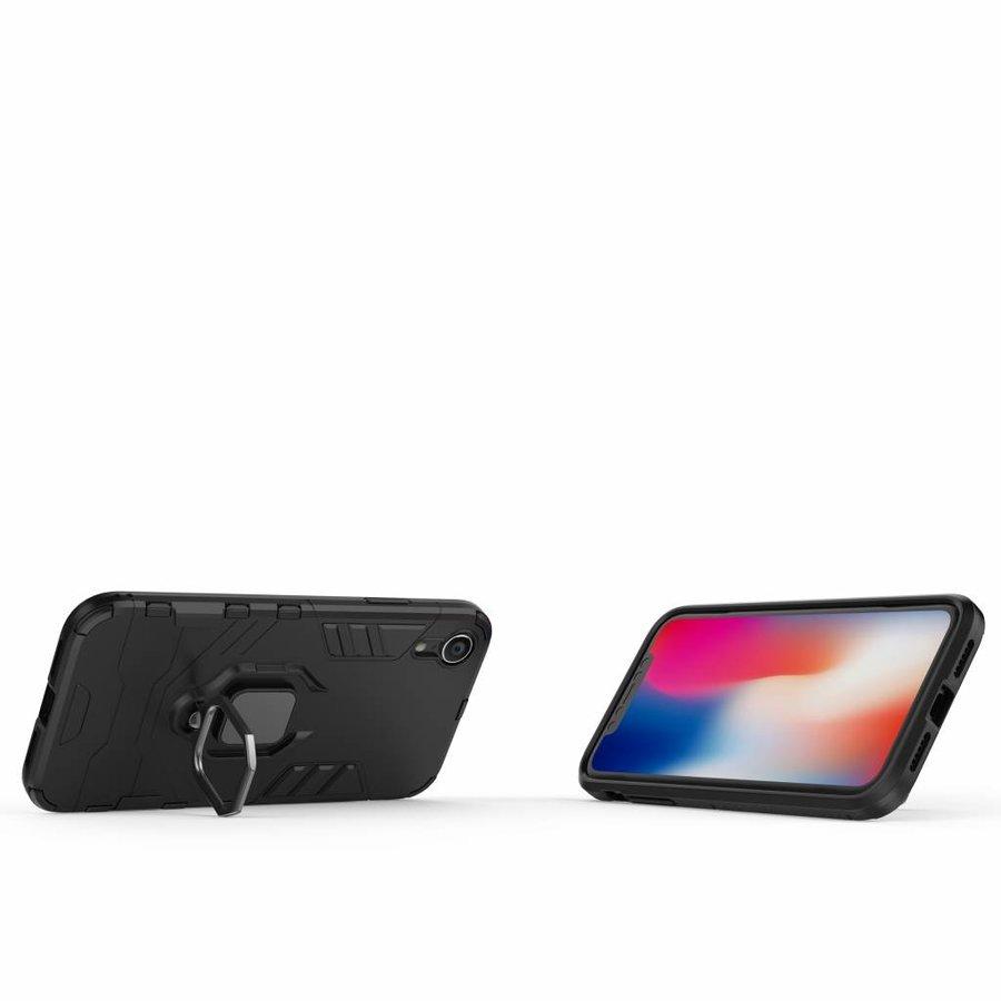 Apple Iphone XR Ring magnet telefoonhoesje - Zwart-2