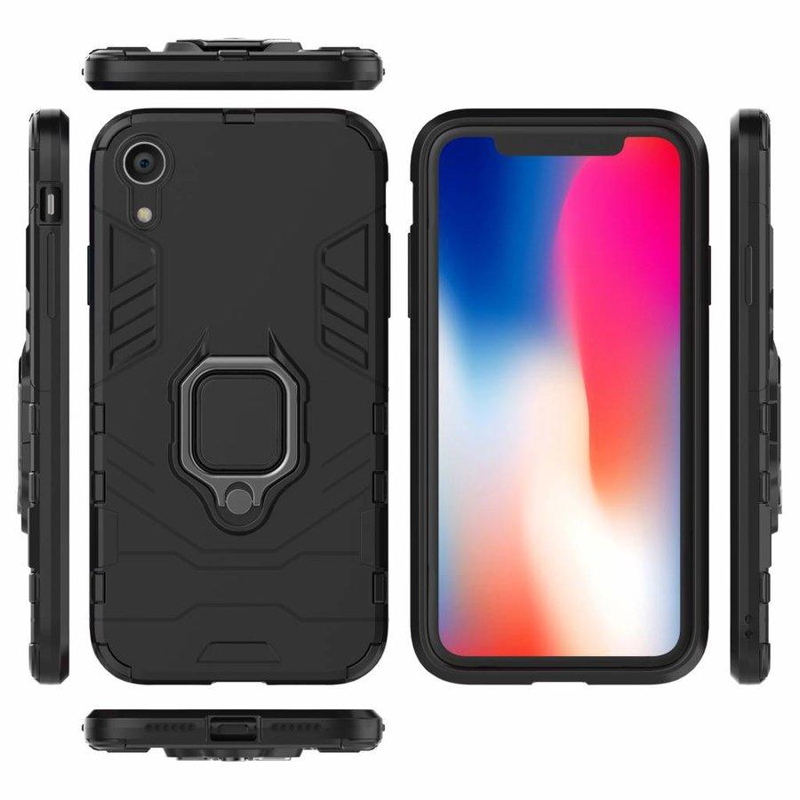 Apple Iphone XR Ring magnet telefoonhoesje - Zwart-3