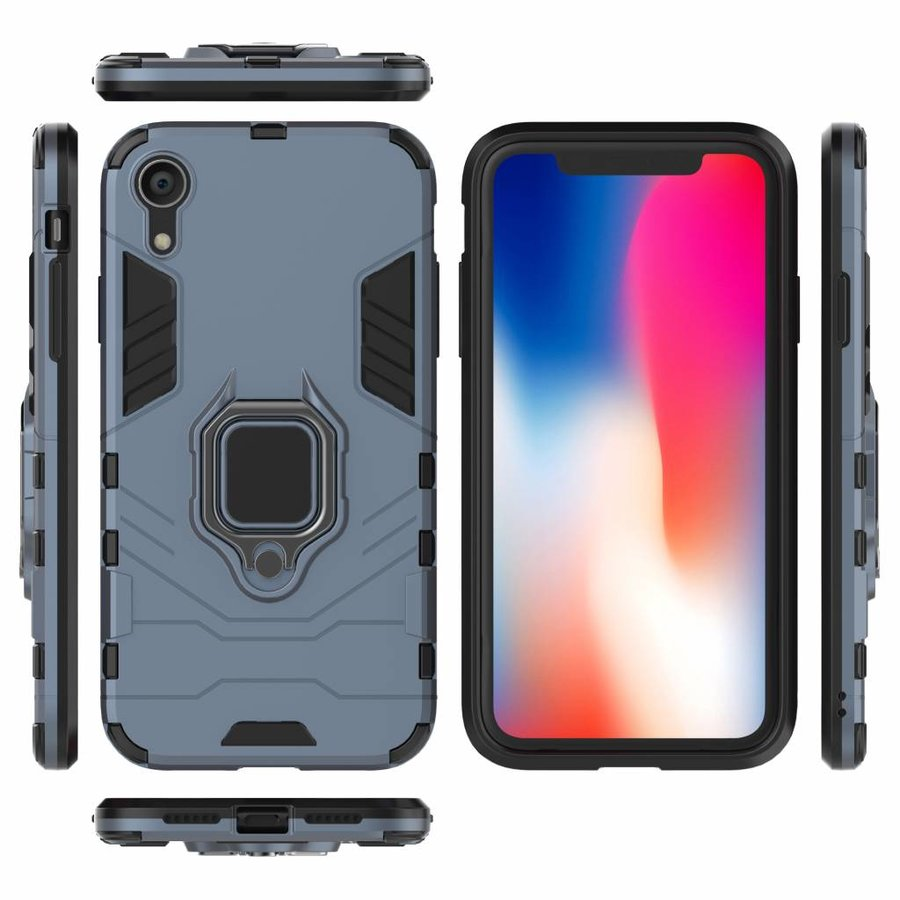 Apple Iphone XR Ring magnet telefoonhoesje - Blauw-5