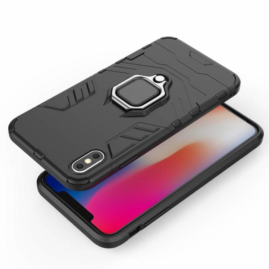 Apple Iphone XS max Ring magnet telefoonhoesje - Zwart-4