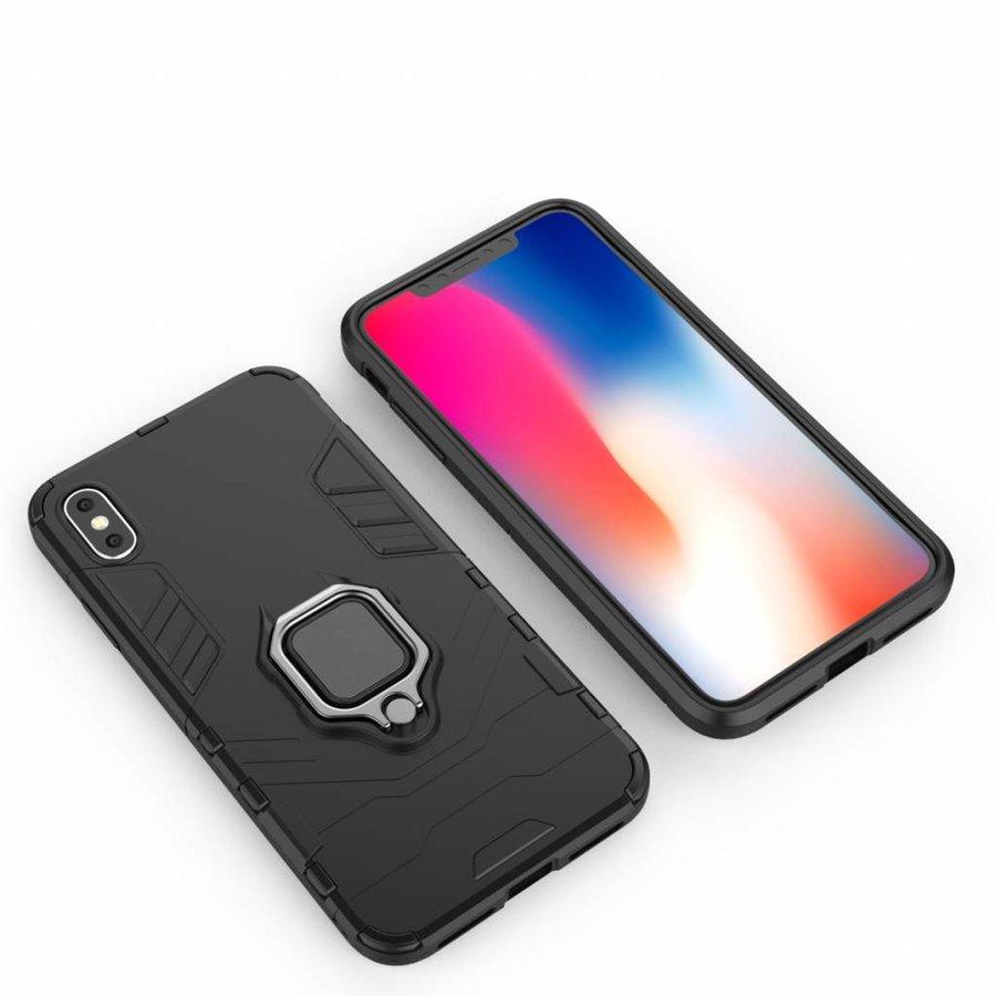 Apple Iphone XS max Ring magnet telefoonhoesje - Zwart-5