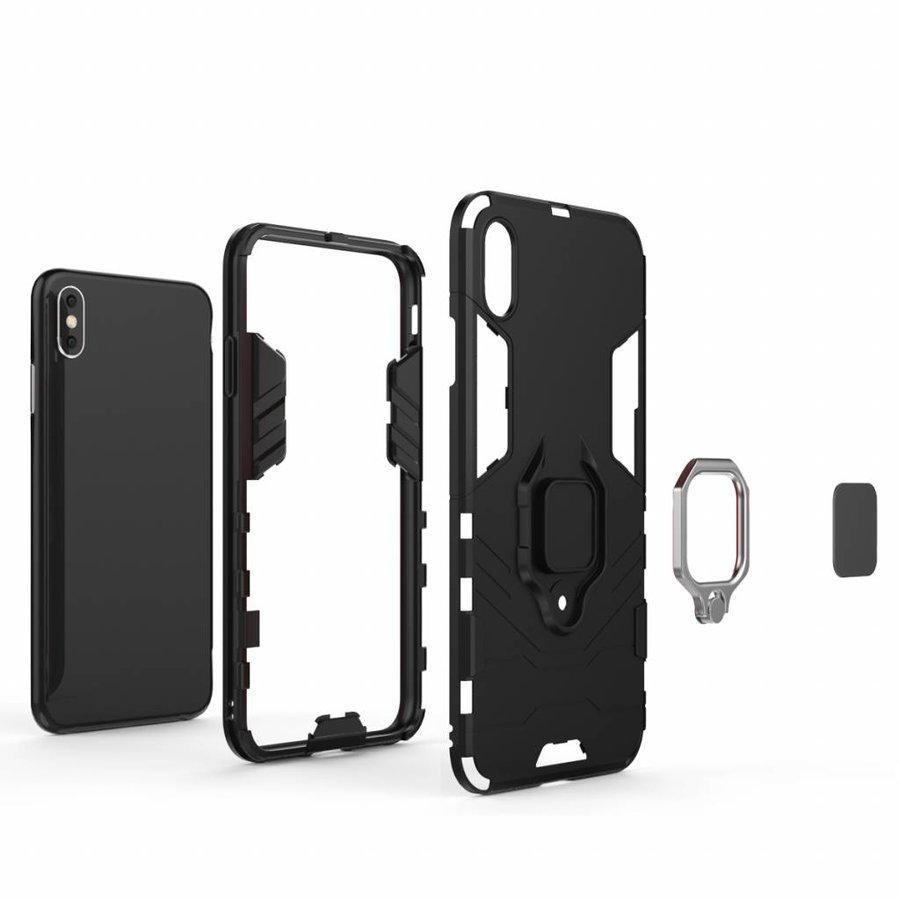 Apple Iphone XS max Ring magnet telefoonhoesje - Zwart-6