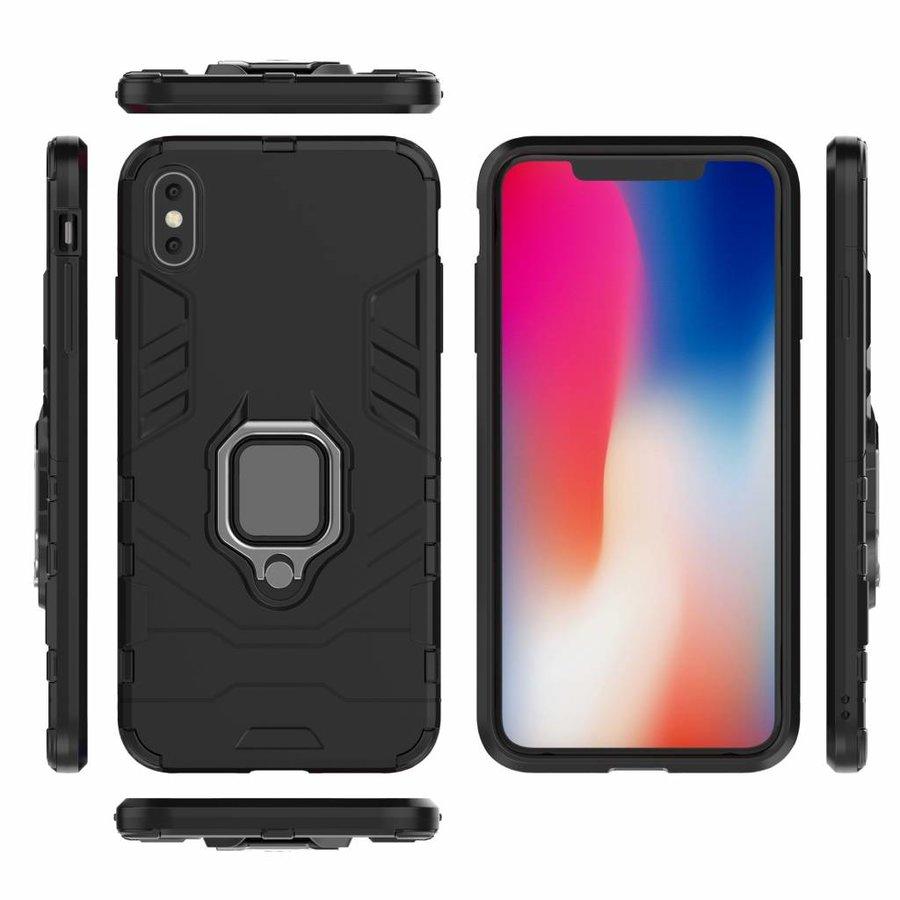 Apple Iphone XS max Ring magnet telefoonhoesje - Zwart-7