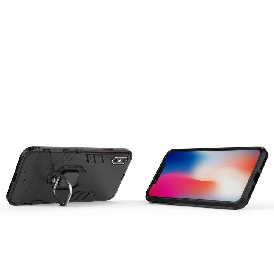 Apple Iphone XS max Ring magnet telefoonhoesje - Zwart-2