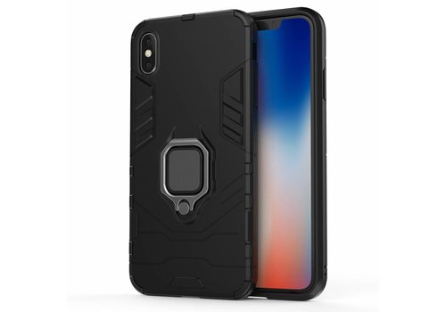 Apple Iphone XS max Ring magnet telefoonhoesje - Zwart