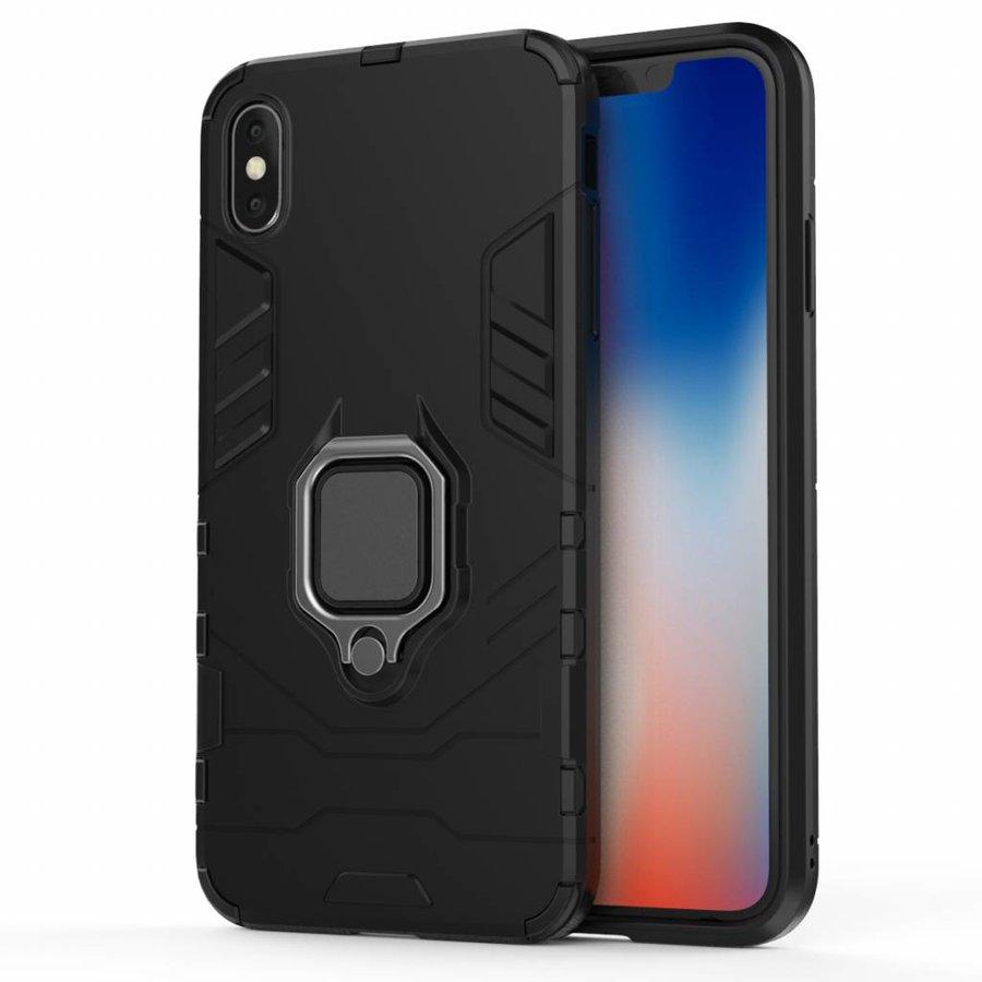Apple Iphone XS max Ring magnet telefoonhoesje - Zwart-1