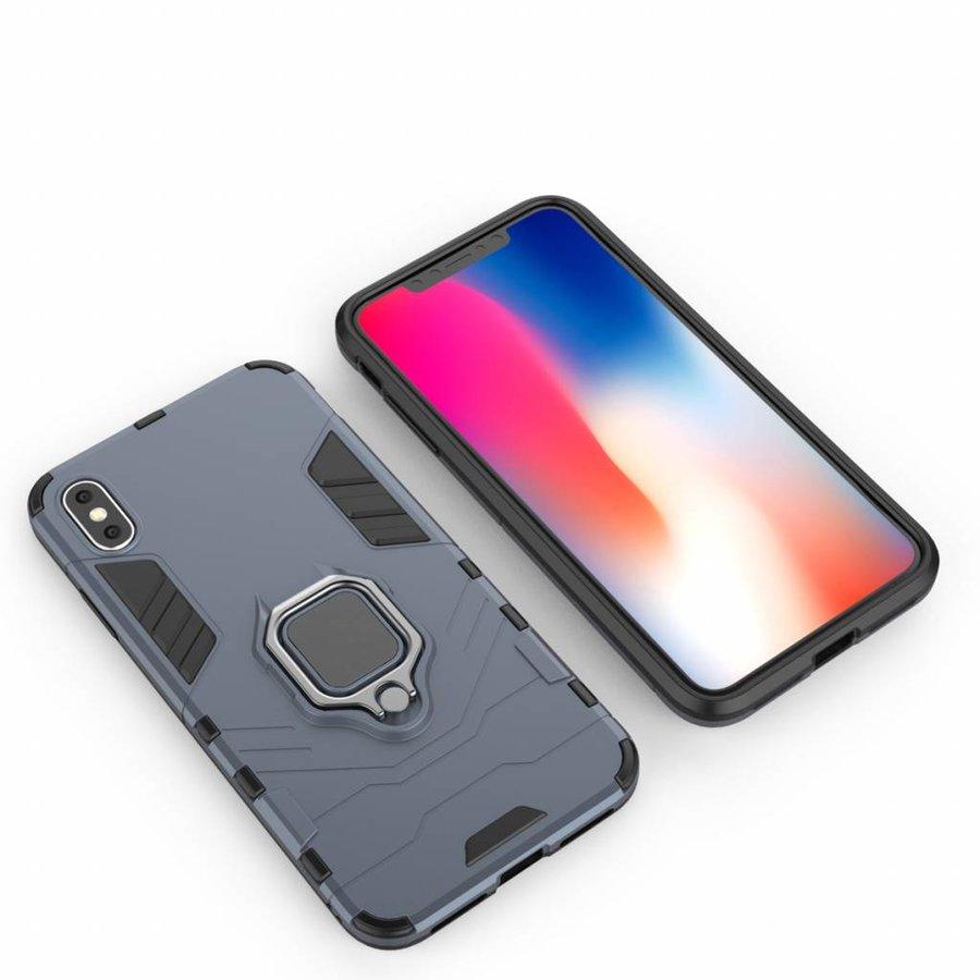 Apple Iphone XS max Ring magnet telefoonhoesje - Blauw-4