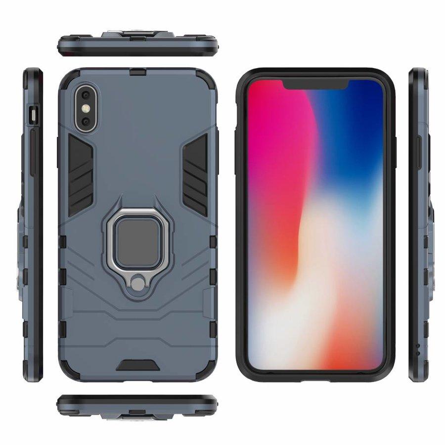 Apple Iphone XS max Ring magnet telefoonhoesje - Blauw-5
