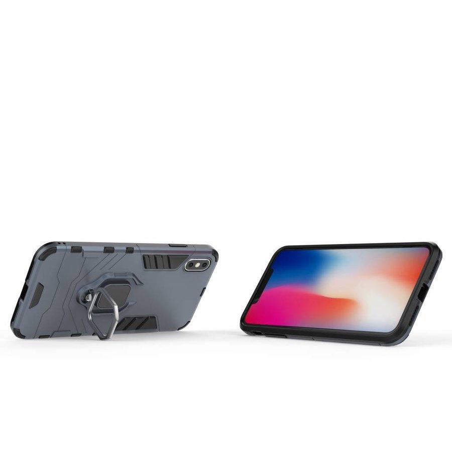 Apple Iphone XS max Ring magnet telefoonhoesje - Blauw-2