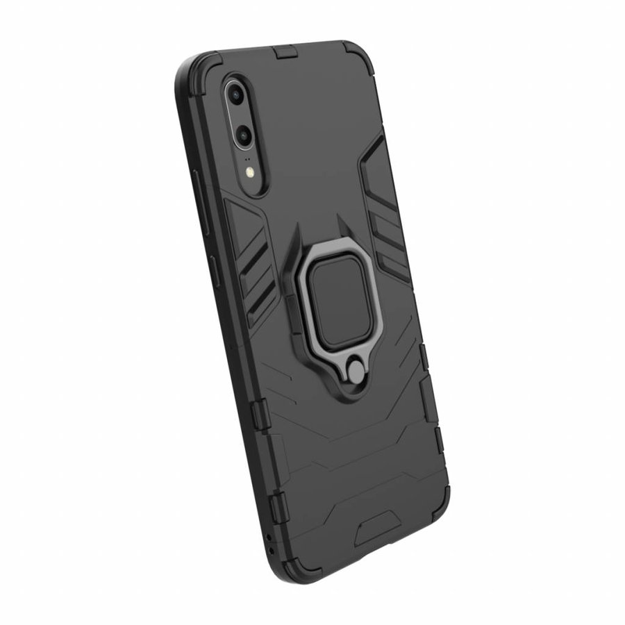 Huawei P20 Ring magnet telefoonhoesje - Zwart-3